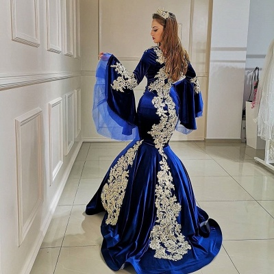 ZY098 Blue Evening Dresses With Sleeves | Velvet Prom Dresses With Lace_2