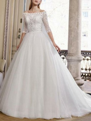 Ball Gown Wedding Dresses Off Shoulder Sweep \ Brush Train Tulle Half Sleeve Plus Size Illusion Sleeve_1