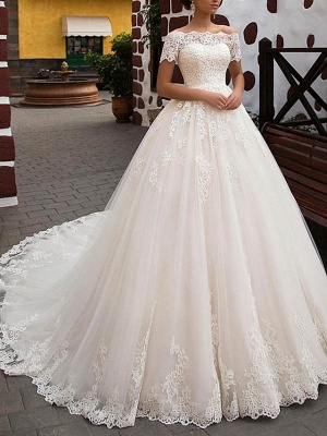 A-Line Wedding Dresses Off Shoulder Sweep \ Brush Train Lace Short Sleeve Glamorous Vintage Illusion Detail Backless_1