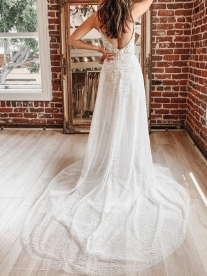A-Line Wedding Dresses Spaghetti Strap Plunging Neck Court Train Detachable Lace Tulle Sleeveless Country Plus Size_4