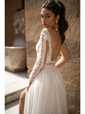 A-Line Wedding Dresses V Neck Sweep \ Brush Train Chiffon Lace Long Sleeve Romantic Backless Illusion Sleeve_3
