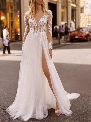 A-Line Wedding Dresses V Neck Floor Length Lace Tulle Long Sleeve Beach Boho Sexy See-Through_1