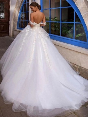 Ball Gown Off Shoulder Court Train Lace Tulle Short Sleeve Country Romantic Illusion Detail Backless Wedding Dresses_3