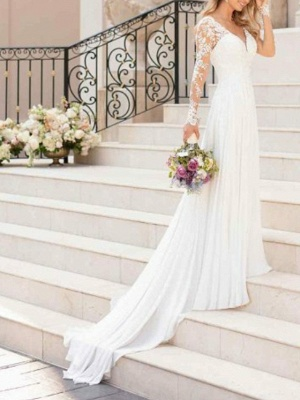 A-Line Wedding Dresses V Neck Sweep \ Brush Train Chiffon Lace Long Sleeve Romantic Illusion Sleeve_1