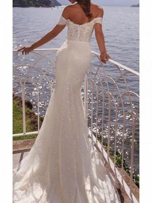 Mermaid \ Trumpet Wedding Dresses Off Shoulder Court Train Lace Short Sleeve_2