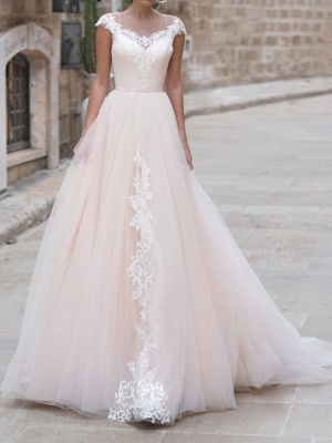 A-Line Wedding Dresses Jewel Neck Sweep \ Brush Train Lace Taffeta Chiffon Over Satin Short Sleeve Country Plus Size_1