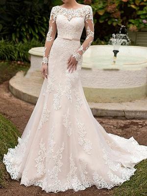 Mermaid \ Trumpet Wedding Dresses Bateau Neck Sweep \ Brush Train Lace Long Sleeve Boho Illusion Sleeve_1