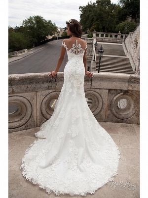 Mermaid \ Trumpet Wedding Dresses Off Shoulder Court Train Lace Tulle Lace Over Satin Short Sleeve Illusion Detail Backless_4