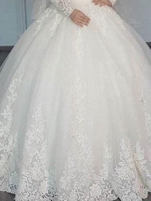 A-Line Wedding Dresses V Neck Sweep \ Brush Train Lace Long Sleeve Illusion Sleeve_3