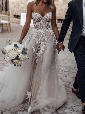 A-Line Wedding Dresses Strapless Sweep \ Brush Train Lace Tulle Sleeveless Sexy