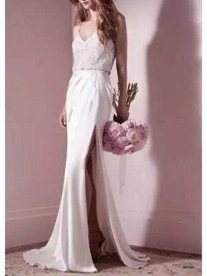 Mermaid \ Trumpet Wedding Dresses V Neck Sweep \ Brush Train Satin Spaghetti Strap Formal Simple Plus Size_1