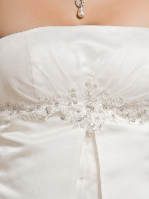 Princess A-Line Wedding Dresses Strapless Court Train Organza Satin Sleeveless_10