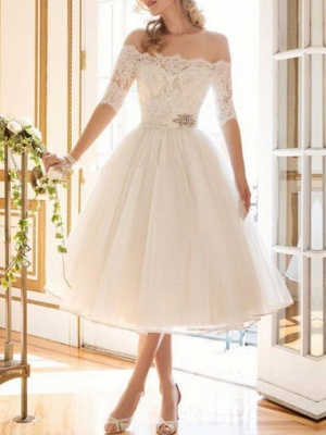A-Line Wedding Dresses Off Shoulder Tea Length Lace Tulle Half Sleeve Vintage Sexy Wedding Dress in Color Backless_1
