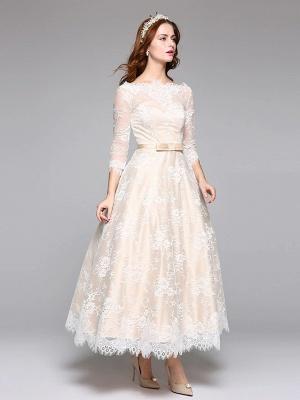 A-Line Wedding Dresses Bateau Neck Ankle Length Lace Over Satin 3\4 Length Sleeve Casual Boho See-Through Cute Illusion Sleeve_4