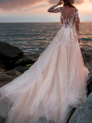 A-Line Wedding Dresses Jewel Neck Court Train Lace Tulle Long Sleeve Beach Sexy See-Through_2