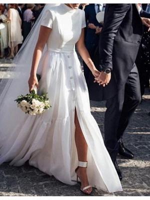 A-Line Wedding Dresses High Neck Sweep \ Brush Train Polyester Short Sleeve Formal Plus Size Modern_1