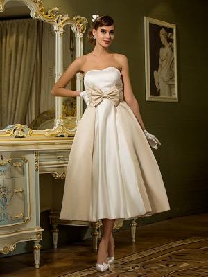 A-Line Wedding Dresses Sweetheart Neckline Tea Length Satin Strapless Casual Vintage Little White Dress Plus Size_2