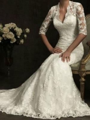 Sheath \ Column Wedding Dresses V Neck Sweep \ Brush Train Lace Half Sleeve Illusion Sleeve_1