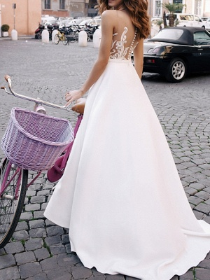 A-Line Wedding Dresses Jewel Neck Sweep \ Brush Train Lace Tulle Regular Straps Casual Beach Backless_2