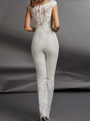 Jumpsuits Wedding Dresses Jewel Neck Floor Length Detachable Lace Tulle Cap Sleeve Country Plus Size_2