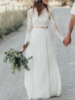 A-Line Wedding Dresses Jewel Neck Sweep \ Brush Train Lace Chiffon Over Satin Long Sleeve Beach Boho Sexy See-Through_1