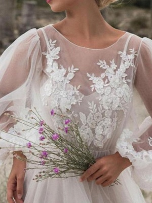 A-Line Wedding Dresses Jewel Neck Floor Length Lace Tulle Long Sleeve Beach Sexy See-Through_3