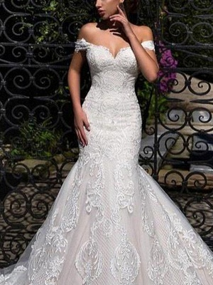Mermaid \ Trumpet Off Shoulder Court Train Lace Strapless Formal Simple Casual Wedding Dresses_3
