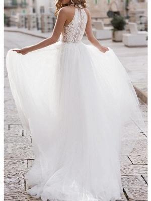 A-Line Wedding Dresses Halter Neck Asymmetrical Lace Tulle Regular Straps Boho_2