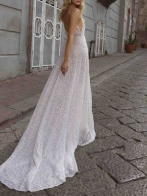 A-Line Wedding Dresses V Neck Sweep \ Brush Train Tulle Spaghetti Strap Boho Plus Size_2