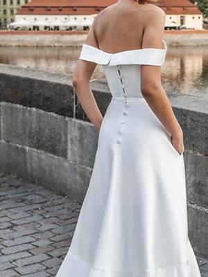 A-Line Off Shoulder Sweep \ Brush Train Satin Short Sleeve Formal Wedding Dress in Color Wedding Dresses_3