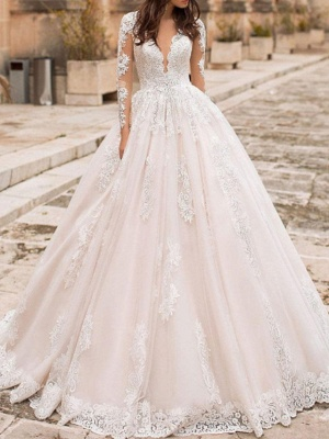 A-Line V Neck Court Train Lace Tulle Short Sleeve Vintage Sexy Wedding Dress in Color Backless Wedding Dresses_1