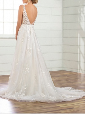 A-Line Wedding Dresses V Neck Sweep \ Brush Train Tulle Sleeveless Sexy Backless_2