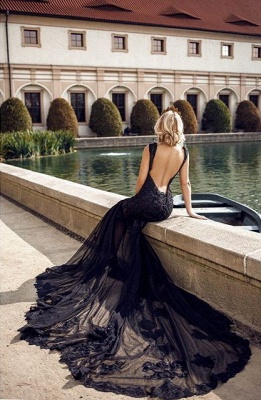 ZY105 Modern Evening Dresses Long Black | Evening Fashion With Lace_3