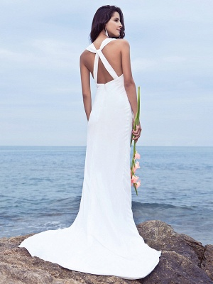 Mermaid \ Trumpet Wedding Dresses V Neck Sweep \ Brush Train Chiffon Regular Straps Beach Backless_2