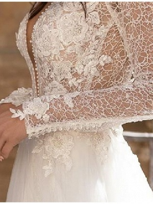 A-Line Wedding Dresses Plunging Neck Court Train Lace Tulle Long Sleeve Country Plus Size_3