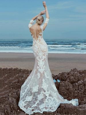 Mermaid \ Trumpet Wedding Dresses Scoop Neck Sweep \ Brush Train Lace Tulle Half Sleeve Beautiful Back_1