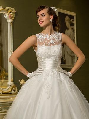 A-Line Wedding Dresses High Neck Ankle Length Lace Over Tulle Regular Straps Vintage Little White Dress Illusion Detail_5