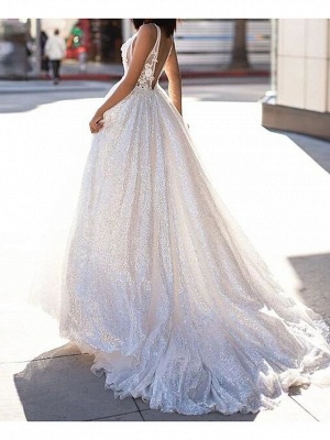 A-Line Wedding Dresses Scoop Neck Sweep \ Brush Train Lace Tulle Sleeveless Beach Sexy See-Through_2