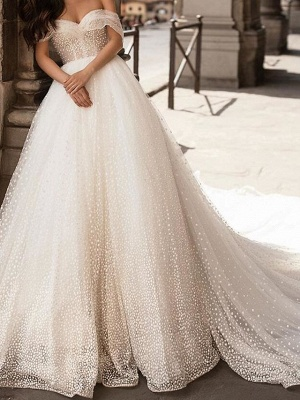 Ball Gown Off Shoulder Chapel Train Tulle Polyester Short Sleeve Country Plus Size Wedding Dresses_1