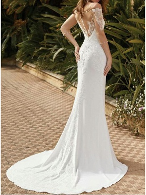 Mermaid \ Trumpet Wedding Dresses Square Neck Sweep \ Brush Train Lace Satin Tulle Half Sleeve Sexy See-Through_3