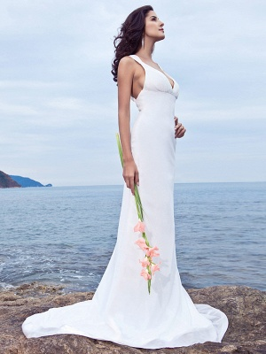 Mermaid \ Trumpet Wedding Dresses V Neck Sweep \ Brush Train Chiffon Regular Straps Beach Backless_3