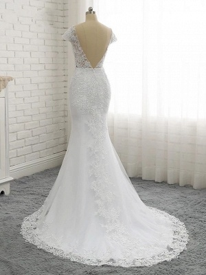 Mermaid \ Trumpet Wedding Dresses V Neck Court Train Lace Tulle Lace Over Satin Cap Sleeve Glamorous Backless_4