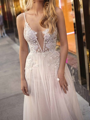 A-Line Wedding Dresses V Neck Court Train Chiffon Tulle Sleeveless Beach Sexy See-Through_4