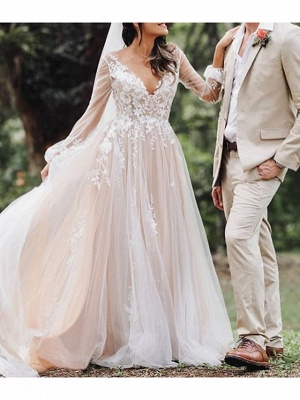 A-Line V Neck Court Train Lace Tulle Polyester Long Sleeve Formal Boho Plus Size Illusion Sleeve Wedding Dresses_1