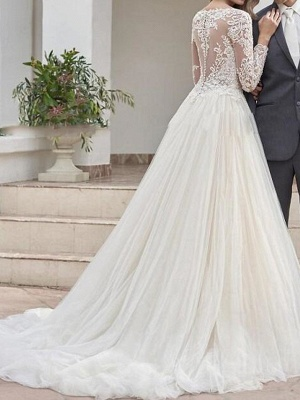 A-Line Wedding Dresses Jewel Neck Sweep \ Brush Train Lace Tulle Long Sleeve Country See-Through Plus Size_2