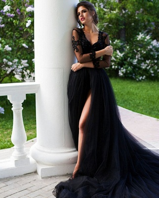 ZY106 Beautiful Evening Dresses Long Black | Evening Wear With Lace Sleeves_4