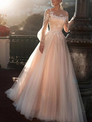 A-Line Wedding Dresses Jewel Neck Sweep \ Brush Train Lace Tulle Long Sleeve Sexy Wedding Dress in Color See-Through_1