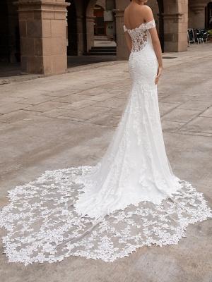 Mermaid \ Trumpet Wedding Dresses Off Shoulder Court Train Polyester Short Sleeve Simple Plus Size_2