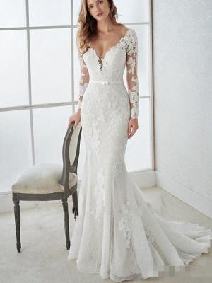 Mermaid \ Trumpet Wedding Dresses V Neck Sweep \ Brush Train Lace Tulle Long Sleeve Country Illusion Sleeve_1