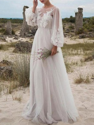 A-Line Wedding Dresses Jewel Neck Floor Length Lace Tulle Long Sleeve Beach Sexy See-Through_1